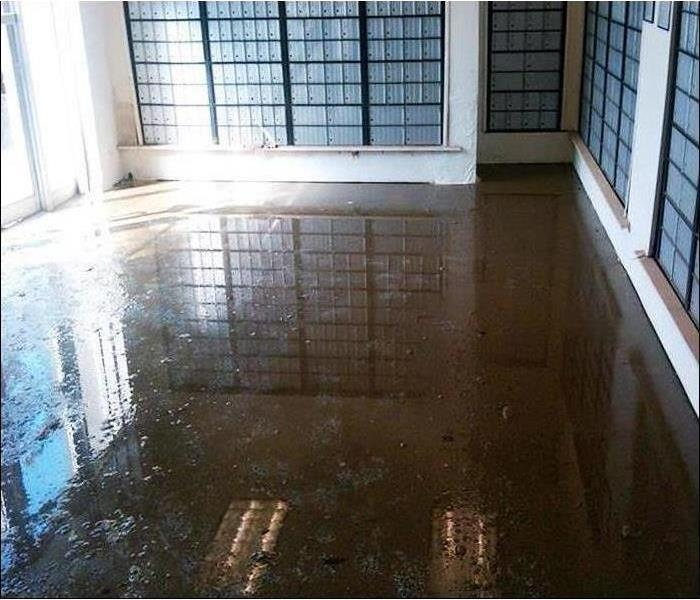 dirty, muddy flood water in a mailroom