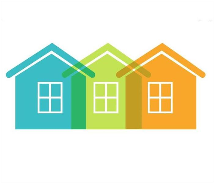 image shows a blue, green, and orange animated home.